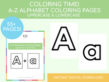 Load image into Gallery viewer, Alphabet Coloring Pages (Uppercase & Lowercase)