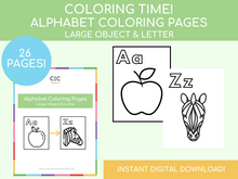 Load image into Gallery viewer, Alphabet Coloring Pages (includes images)