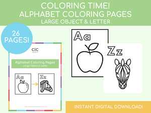 Alphabet Coloring Pages (includes images)