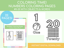 Load image into Gallery viewer, Number Coloring Pages (includes images & words)