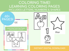Load image into Gallery viewer, Learning Coloring Pages! Letters, Numbers & Shapes