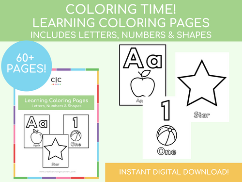 Learning Coloring Pages! Letters, Numbers & Shapes