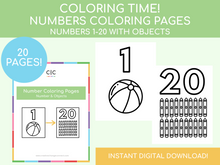 Load image into Gallery viewer, Number Coloring Pages (includes images)
