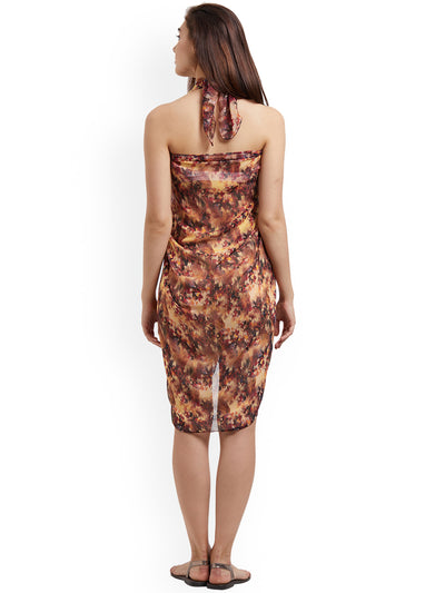 Brown Abstract Printed Sarong