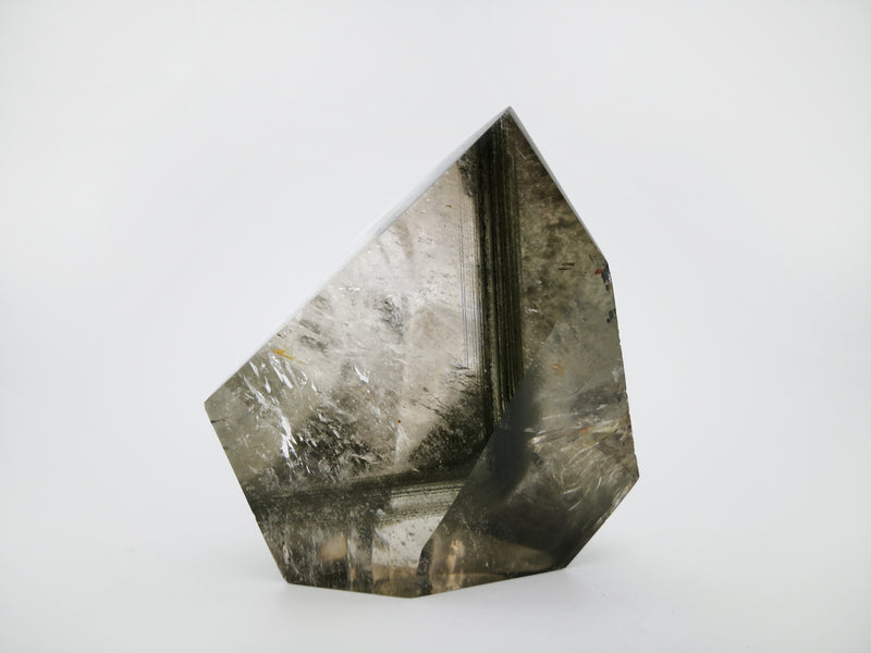 Meralt. artistic chlorite included quartz, of distinct shape, perfect for interior design and home decoration