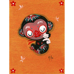 Artwork- Monkey Cuddle Art Print by Martin Hsu