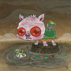 Snappy Pig Tanning Original Painting