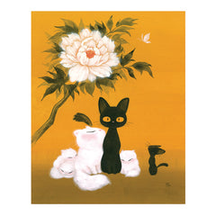 Artwork: Cats and Peony Fine Art Print by Martin Hsu