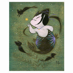 Artwork- Mermaid Cat Tease Art Print by Martin Hsu