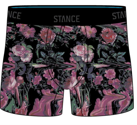 Stance Underwear: Broken Gardens Boxer Brief-Black
