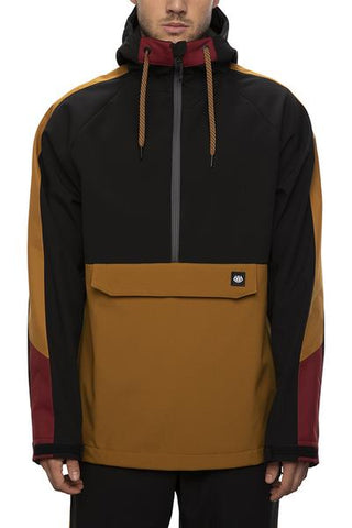 686: Men's Waterproof Anorak - Golden Brown Colorblock