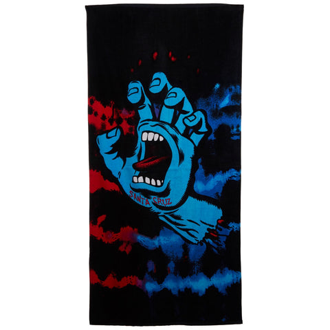 Santa Cruz Screaming Hand Towel Black Tie Dye