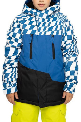686: Boys' Geo Insulated Jacket - Primary Blue Checkers