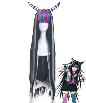 Danganronpa 2: Goodbye Despair Ibuki Mioda Black White Cosplay Wig - Wig + Horn
