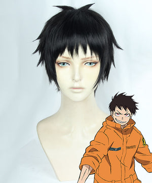 Fire Force Enen no Shouboutai Shinra Kusakabe Black Cosplay Wig