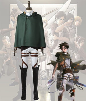 Attack On Titan Shingeki No Kyojin Levi Ackerman Scout Regiment Battle Suit Cosplay Costume