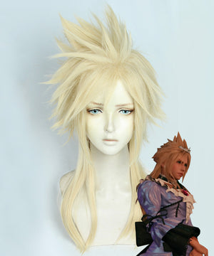 Final Fantasy VII Remake Cloud Strife Girl Golden Cosplay Wig