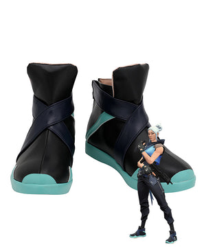 Valorant Jett Black Blue Cosplay Shoes