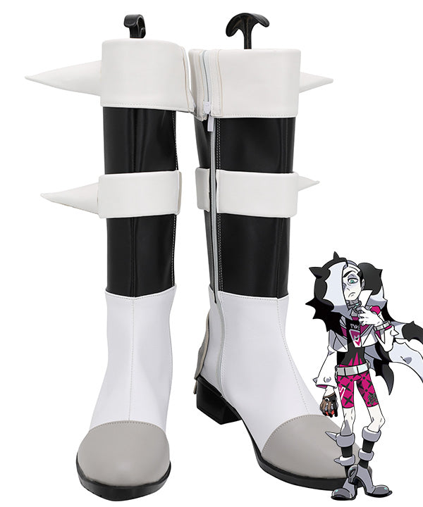 Pokemon Pok��mon Sword And Shield Piers Black Grey Shoes Cosplay Boots