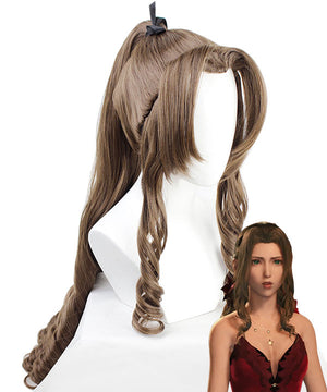Final Fantasy VII Remake FF7 Aerith Gainsborough Formal Brown Cosplay Wig