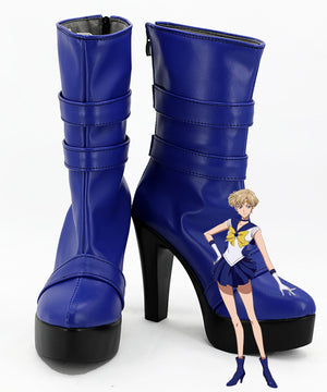 Sailor Moon Sailor Uranus Haruka Tenou Blue Shoes Cosplay Boots