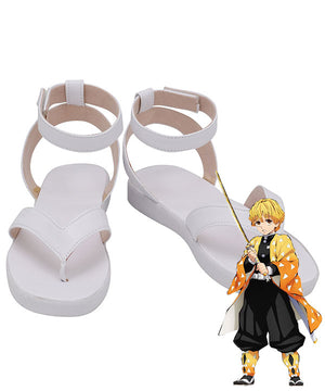 Demon Slayer: Kimetsu No Yaiba Agatsuma Zenitsu White Cosplay Shoes