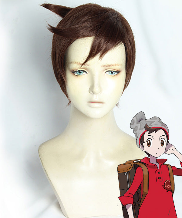 Pokemon Pok��mon Sword And Shield Male Trainer Brown Cosplay Wig