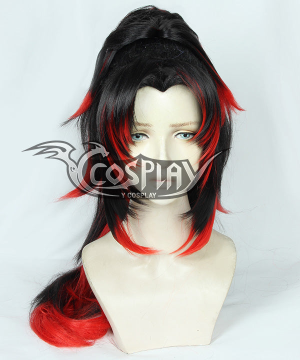 Demon Slayer: Kimetsu no Yaiba Tsugikuni Yoriichi Black Red Cosplay Wig