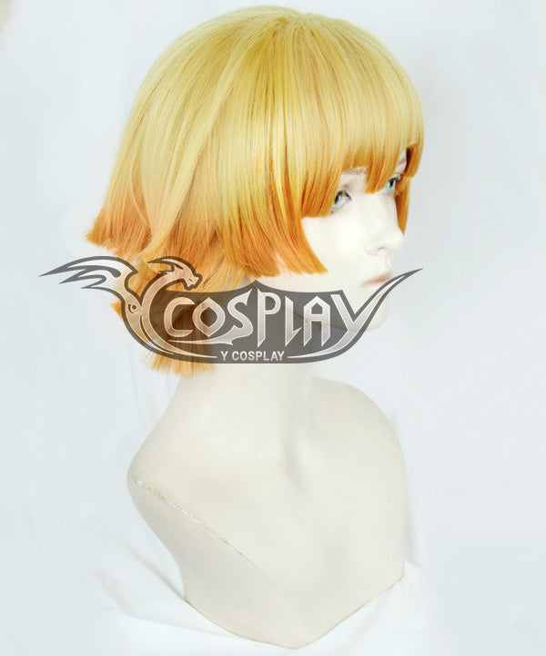 Demon Slayer: Kimetsu No Yaiba Agatsuma Zenitsu Yellow Orange Cosplay Wig