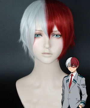 My Hero Academia Boku no Hero Akademia Shoto Todoroki Red White Cosplay Wig