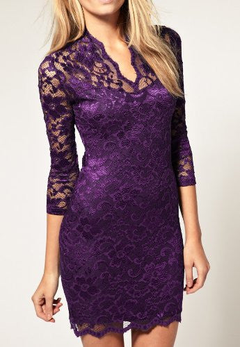 Sexy Mid Sleeved Short Lace Dress - Purple