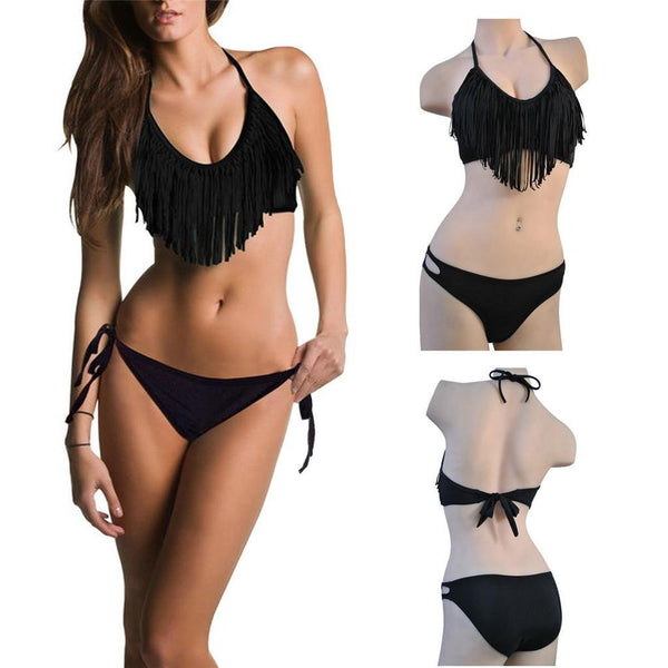 Fringe Padded Halter Top with Ruched Low-rise Hipkini Bottom Black (S-L)