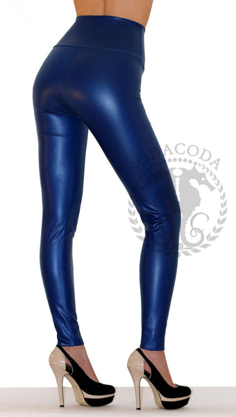 Sexy Ladies High Waist Stretch Faux Leather Leggings - Blue