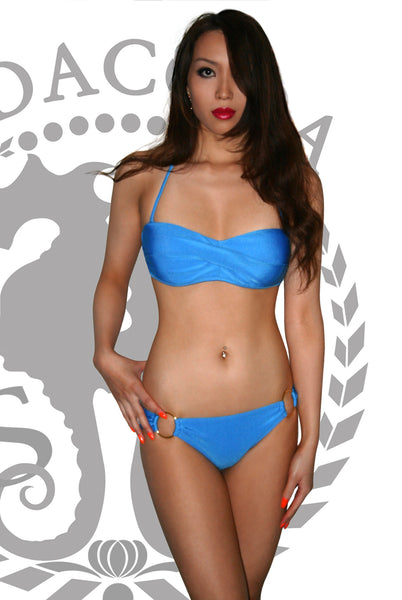 Push Up Twist Bandeau Bikini With Hooped Bottoms Blue (S-L)