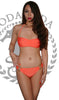 Push Up Twist Bandeau Bikini With Hooped Bottoms Orange (S-L)