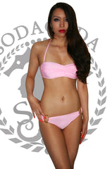 Push Up Twist Bandeau Bikini With Hooped Bottoms Blush Pink (S-L)
