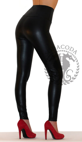 Sexy Ladies High Waist Stretch Faux Leather Leggings - Matte Black
