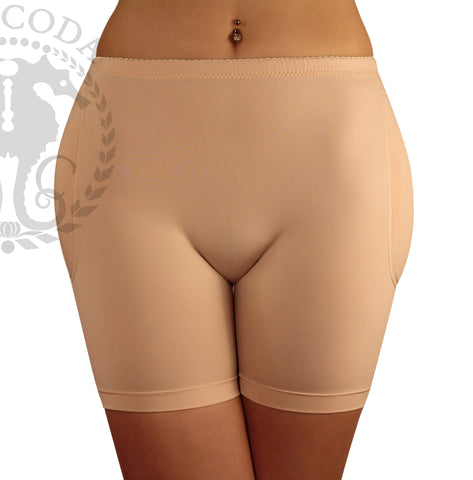 Boyshort Foam Padded Hip and Butt Enhancer with Tummy Control Lowrise to Midrise Style - with 4 removeable Pads - Black & Nude