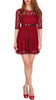 SODACODA Princess mini dress - Extra short - lace clubbing casual 3/4 sleeve - Wine Red M (36)