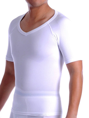 Mens V Neck Cotton Compression T-Shirt - Black and White (S-XL)