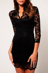 Sexy Mid Sleeved Short Lace Dress - Black