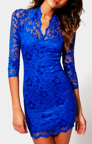 Sexy Mid Sleeved Short Lace Dress - Blue