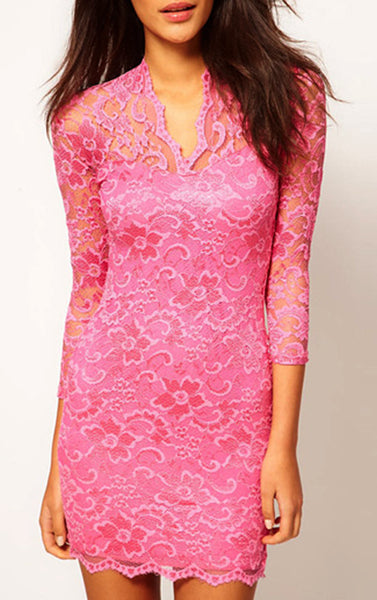 Sexy Mid Sleeved Short Lace Dress - Pink