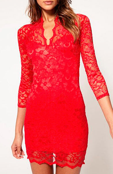 Sexy Mid Sleeved Short Lace Dress - Red