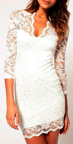 Sexy Mid Sleeved Short Lace Dress - White