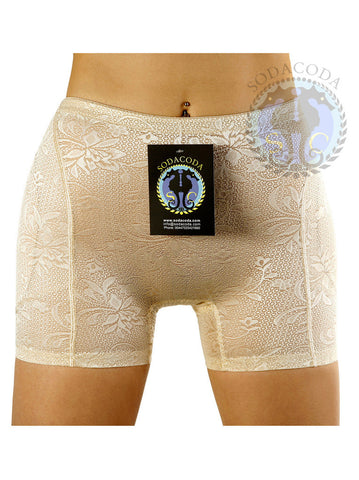 Sodacoda Hip & Butt Lowrise to Midrise Lace Foam Padded Boyshorts with removable pads!!