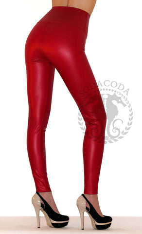 Sexy Ladies High Waist Stretch Faux Leather Leggings - Red