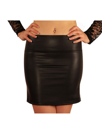 Sexy Soft Stretch Faux Leather Mini Skirt - Black (S-L)
