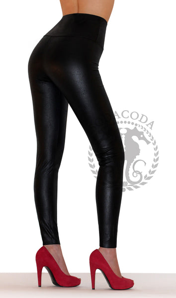 Sexy Ladies High Waist Stretch Faux Leather Leggings - Snake Skin Black