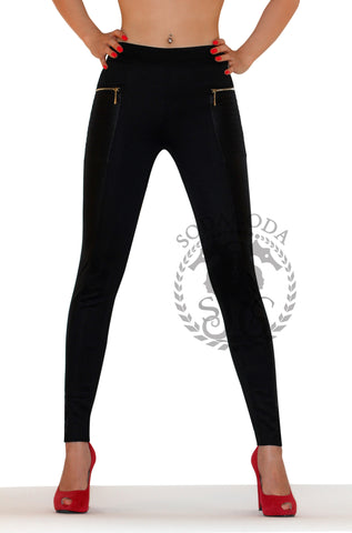 Low Rise Leggings with Gold Zip and Back Pocket - Black